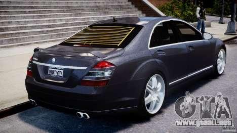 Mercedes-Benz S-Class W221 BRABUS SV12 para GTA 4 vista desde abajo