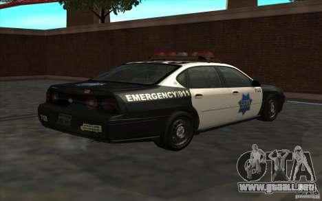 Chevrolet Impala 2003 SFPD para GTA San Andreas left