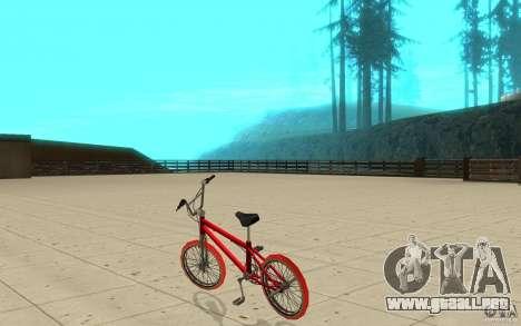Zeros BMX RED tires para GTA San Andreas vista posterior izquierda