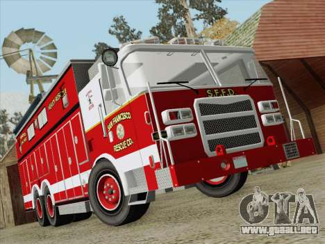 Pierce Walk-in SFFD Heavy Rescue para vista inferior GTA San Andreas