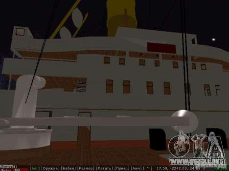 HMHS Britannic para GTA San Andreas vista posterior izquierda