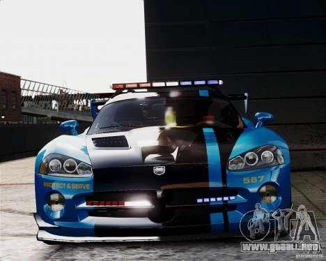 Dodge Viper SRT-10 ACR 2009 Police ELS para GTA 4 vista interior
