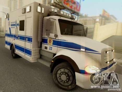 Freightliner Bone County Police Fire Medical para GTA San Andreas vista hacia atrás