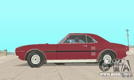 Pontiac Firebird 1968 para GTA San Andreas vista posterior izquierda