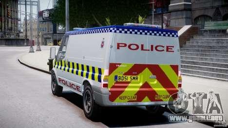 Ford Transit Polish Police [ELS] para GTA 4 Vista posterior izquierda