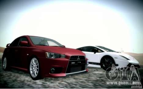 Mitsubishi Lancer Evolution X para vista inferior GTA San Andreas