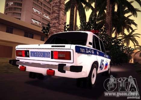 2106 VAZ policía v 2.0 para GTA San Andreas vista posterior izquierda