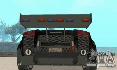 Lamborghini Gallardo Cop V1.0 para GTA San Andreas vista hacia atrás