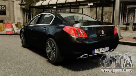 Peugeot 508 Presidentielle ELS para GTA 4 Vista posterior izquierda
