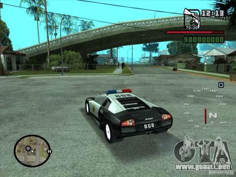 Lamborghini Murcielago Police para GTA San Andreas left
