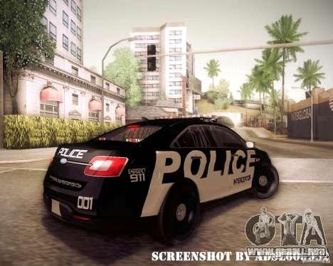 Ford Taurus Police Interceptor 2011 para la visión correcta GTA San Andreas