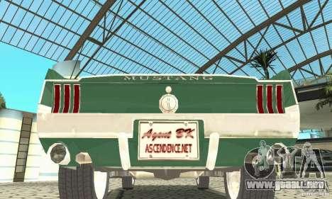 Ford Mustang Fastback 1967 para visión interna GTA San Andreas