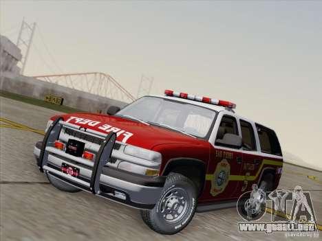 Chevrolet Suburban SFFD para GTA San Andreas vista posterior izquierda