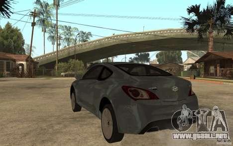 Hyundai Genesis Coupe 2010 para GTA San Andreas vista posterior izquierda