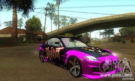 Mazda RX8 Slipknot Style para GTA San Andreas vista hacia atrás