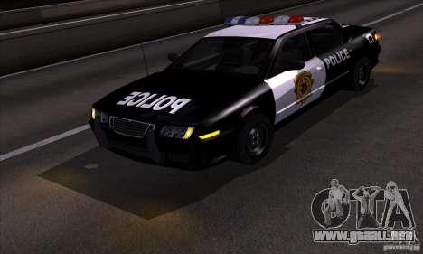 NFS Undercover Police Car para GTA San Andreas vista hacia atrás