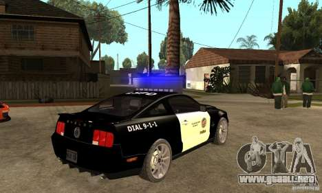 Shelby GT500KR Edition POLICE para la visión correcta GTA San Andreas
