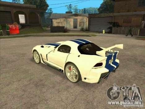Dodge Viper from MW para GTA San Andreas vista posterior izquierda