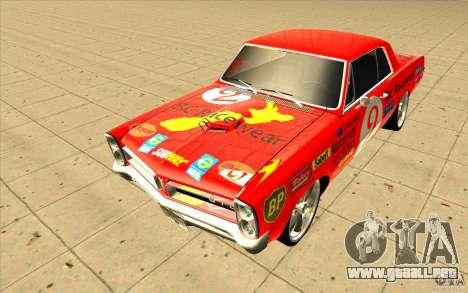 Pontiac GTO 1965 NFS Pro Street con vinilos nuev para la visión correcta GTA San Andreas