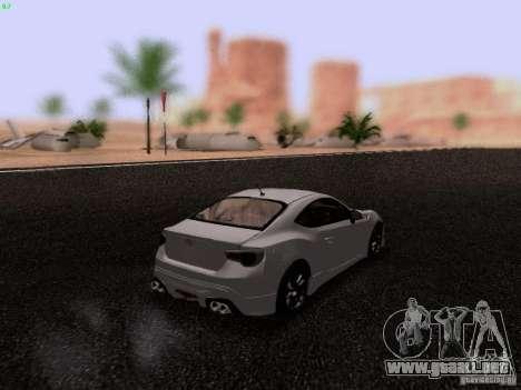 Toyota 86 TRDPerformanceLine 2012 para GTA San Andreas vista posterior izquierda