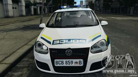Volkswagen Golf 5 GTI South African Police [ELS] para GTA 4 vista lateral