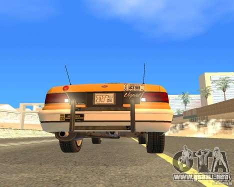 Taxi from GTAIV para GTA San Andreas vista hacia atrás