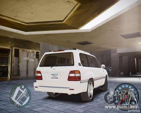 Toyota Land Cruiser 100 para GTA 4 Vista posterior izquierda