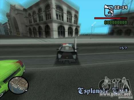Lamborghini Murcielago Police para GTA San Andreas vista hacia atrás