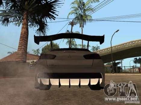 Mitsubishi Lancer Evolution X Drift Spec para GTA San Andreas vista posterior izquierda