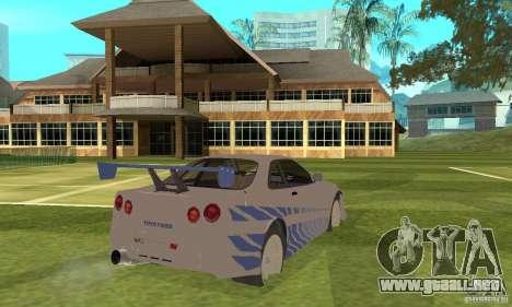 Nissan Skyline R-34 2Fast2Furious para la visión correcta GTA San Andreas