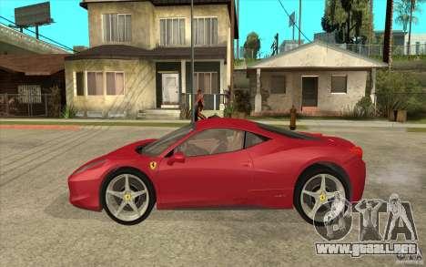 Ferrari F458 para GTA San Andreas left