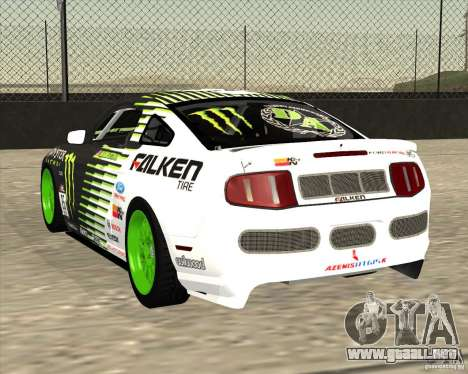 Ford Mustang GT 2010 Vaughn Gittin Jr para GTA San Andreas vista posterior izquierda