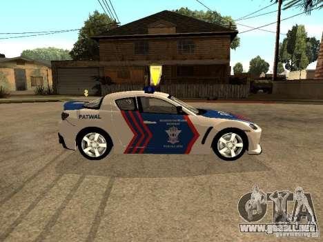 Mazda RX-8 Police para GTA San Andreas left