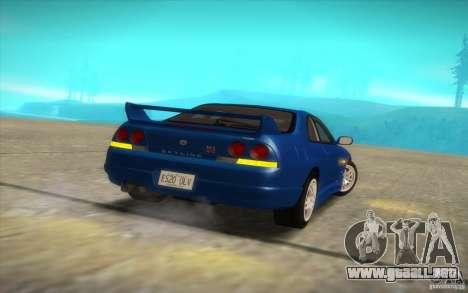 Nissan Skyline R33 GT-R V-Spec para GTA San Andreas vista hacia atrás