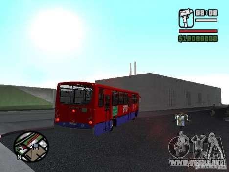 Busscar Urbanuss Pluss VW 17-230 EOD Alongado para GTA San Andreas vista hacia atrás