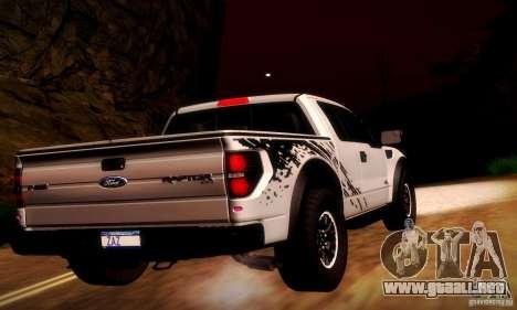 Ford F-150 SVT Raptor V1.0 para GTA San Andreas vista hacia atrás