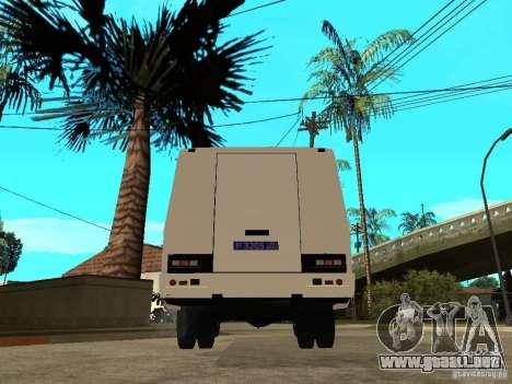 PAZ 3205 policía para GTA San Andreas vista posterior izquierda