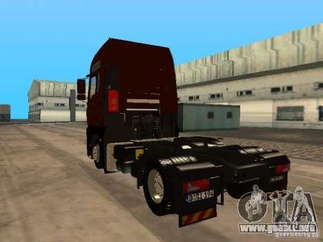 MAN TGA Vos Logistics para GTA San Andreas vista posterior izquierda