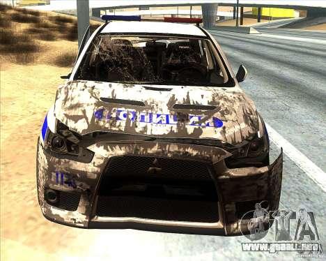 Mitsubishi Lancer Evolution X PPP policía para GTA San Andreas interior