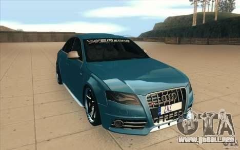 Audi S4 2009 para GTA San Andreas vista hacia atrás