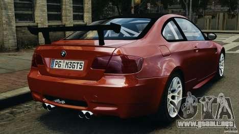 BMW M3 GTS 2010 para GTA 4 Vista posterior izquierda