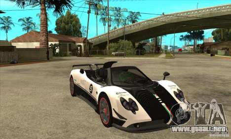 Pagani Zonda Cinque Roadster para GTA San Andreas vista hacia atrás