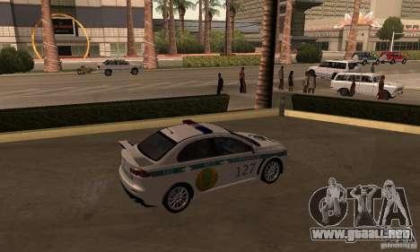 Mitsubishi Lancer Evolution X policía de Kazajis para GTA San Andreas left