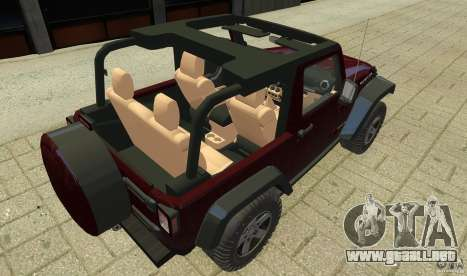 Jeep Wrangler Rubicon 2012 para GTA 4 vista interior