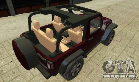 Jeep Wrangler Rubicon 2012 para GTA 4 vista interior