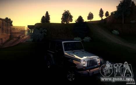 Jeep Wrangler Rubicon 2012 para GTA San Andreas vista posterior izquierda