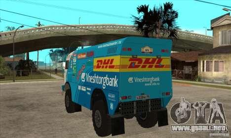 KAMAZ 4911 Rally MASTER para GTA San Andreas vista hacia atrás