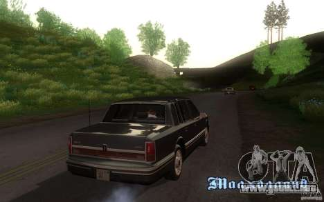 Lincoln Towncar 1991 para GTA San Andreas vista hacia atrás