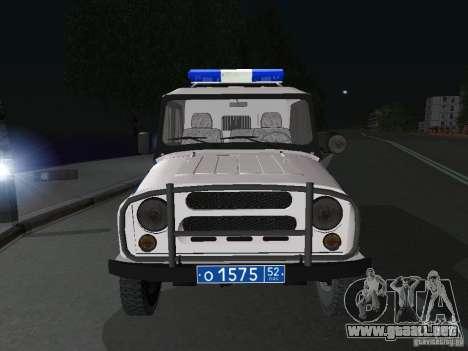 Policía UAZ-31512 para GTA San Andreas vista hacia atrás