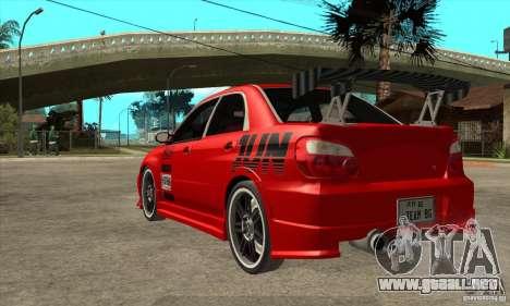 Subaru Impreza 2005 Tuned para GTA San Andreas vista posterior izquierda